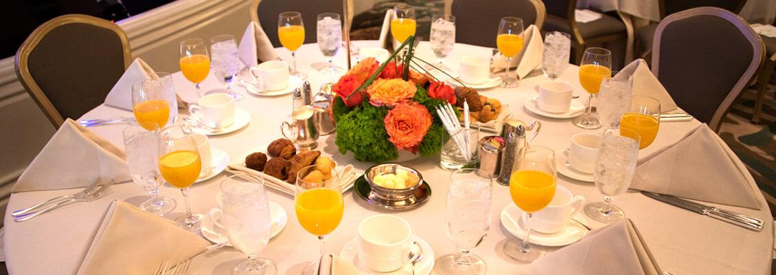 Photo showing prayer breakfast table setting